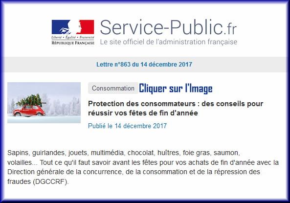 """La lettre N° 863 de """"Service Public"""" pour le 14 Décembre 2017 86310"""