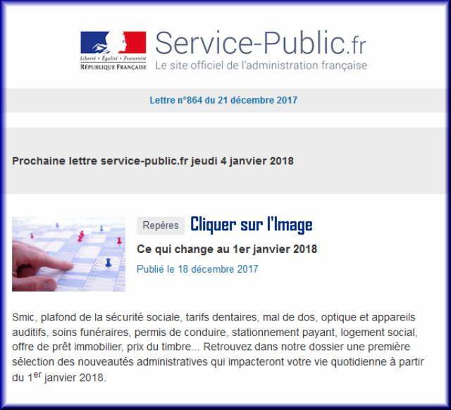 """La lettre N° 864 de """"Service Public"""" pour le 21 Décembre 2017 86410"""