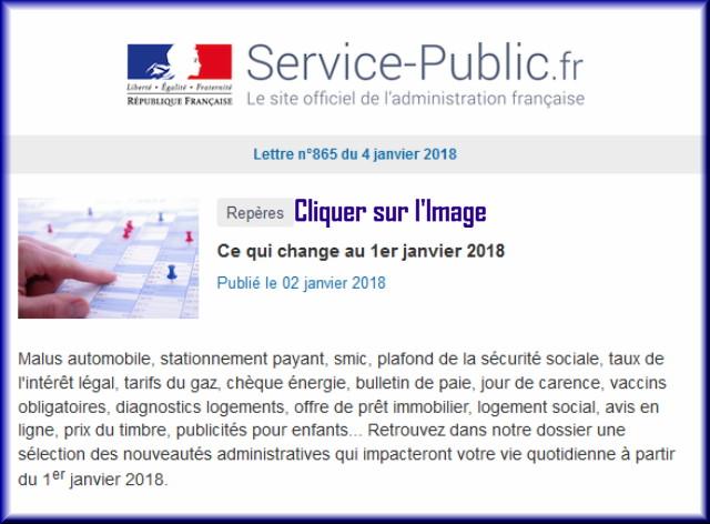 """La lettre N° 865 de """"Service Public"""" pour le 04 Janvier 2018 86510"""