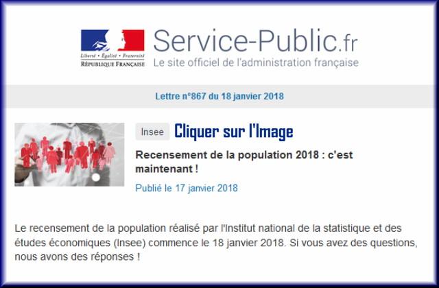 """La lettre N° 867 de """"Service Public"""" pour le 18 Janvier 2018 86710"""