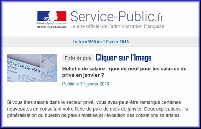 """La lettre N° 869 de """"Service Public"""" pour le 01 Février 2018 86910"""