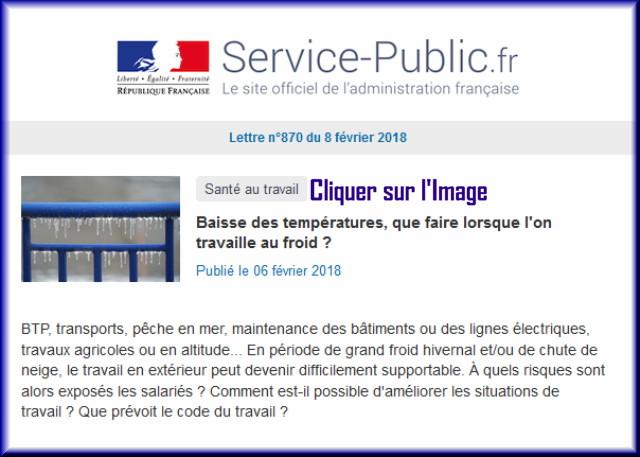 """La lettre N° 870 de """"Service Public"""" pour le 08 Février 2018 87010"""