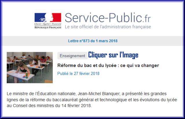 """La lettre N° 873 de """"Service Public"""" pour le 1er Mars 2018 87310"""
