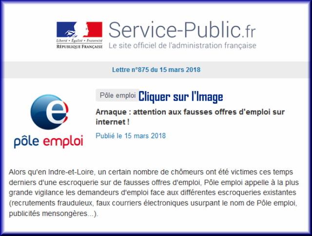 """La lettre N° 875 de """"Service Public"""" pour le 14 Mars 2018 87510"""