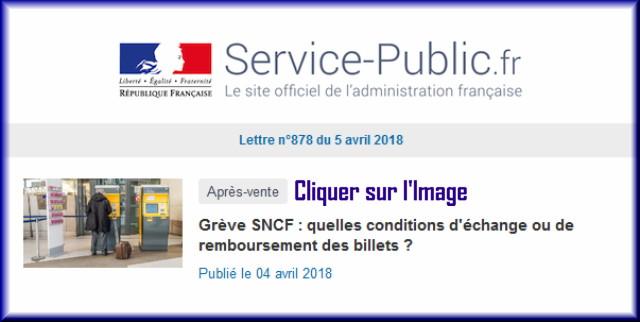 """La lettre N° 878 de """"Service Public"""" pour le 05 Avril 2018 87810"""