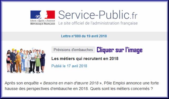 """La lettre N° 880 de """"Service Public"""" pour le 19 Avril 2018 88010"""