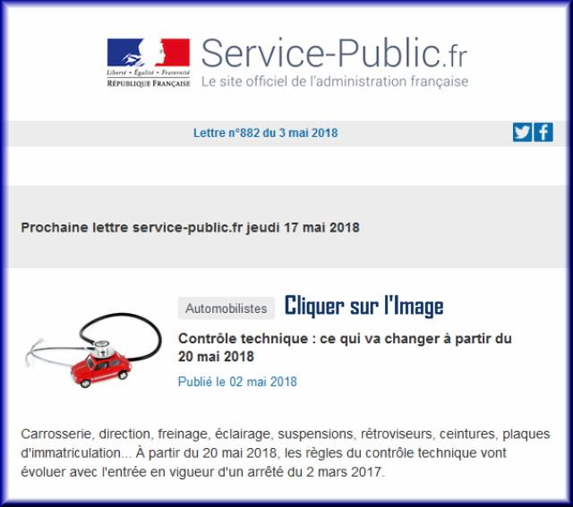 """La lettre N° 882 de """"Service Public"""" pour le 03 Mail 2018 88210"""