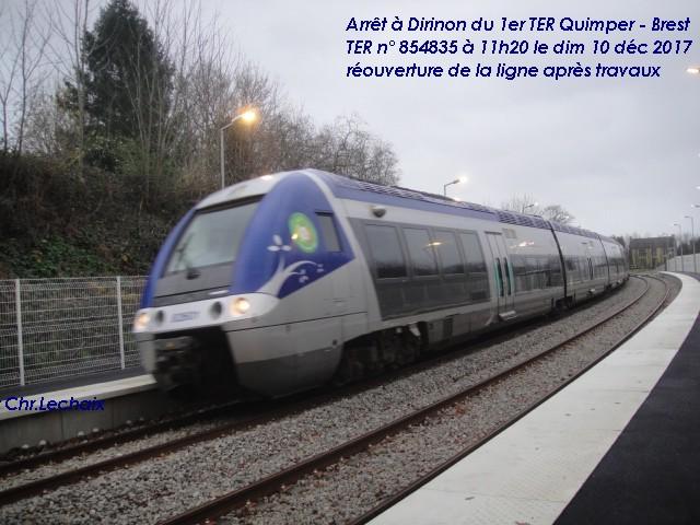 Premier TER Quimper - Brest arrêt à Dirinon dimanche10 décembre Dirino24