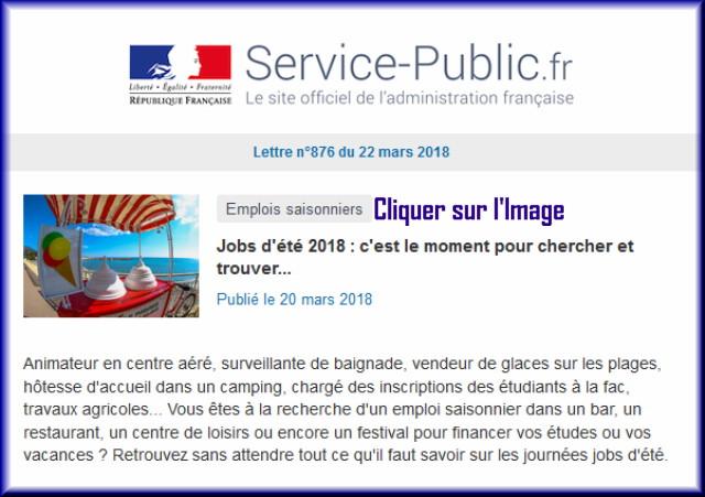 """La lettre N° 876 de """"Service Public"""" pour le 22 Mars 2018 87610"""
