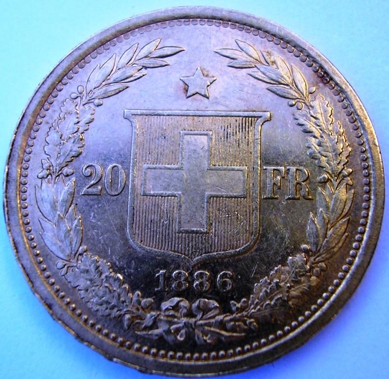 Suiza, 20 francos de 1886 Franco10