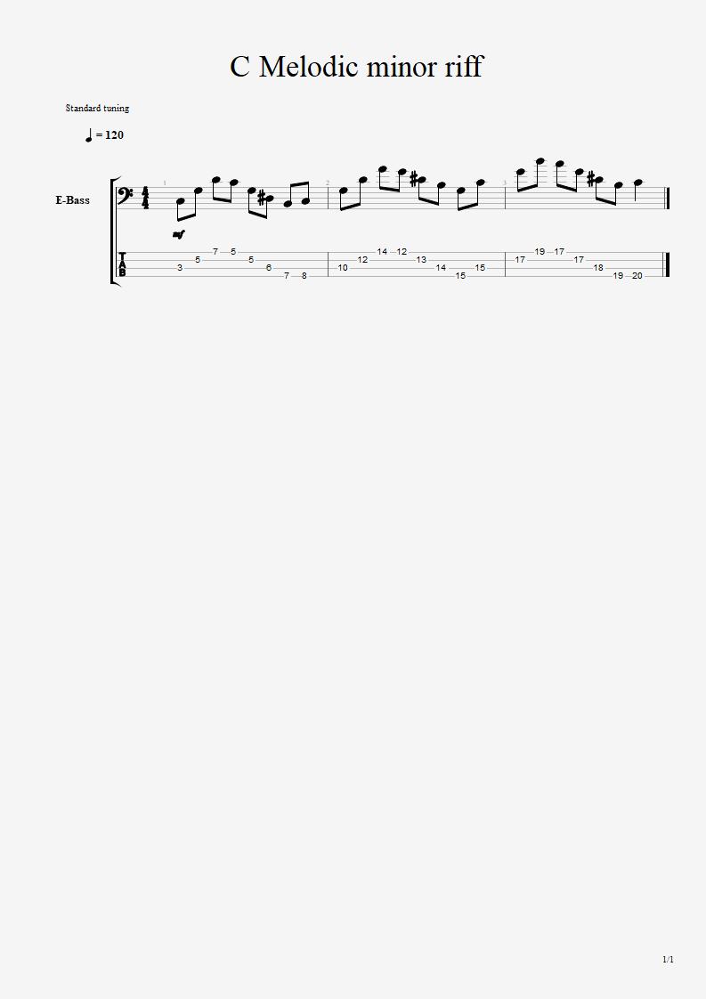 Melodic minor riff C_melo10