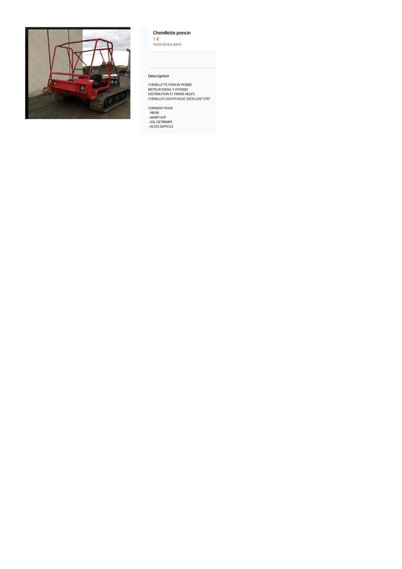 LBC: Chenillette Poncin VP 2800 avec chenilles arceau Poncin12
