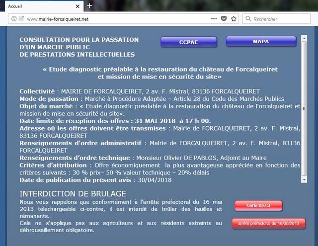 Etude diagnostic préalable à la restauration du château de Forcalqueiret et mission de mise en sécurité du site Captur12