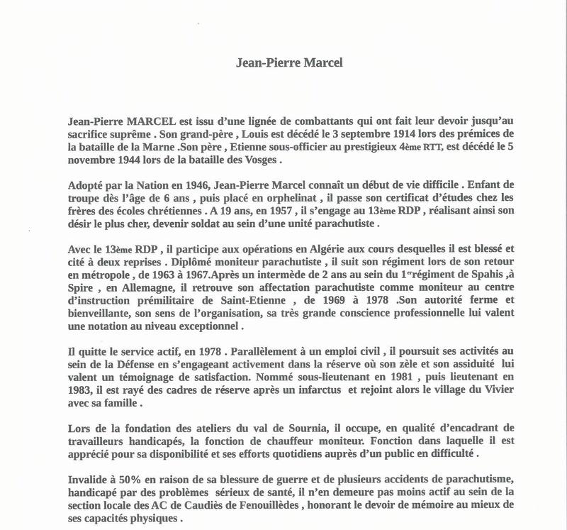 Hommage à l'Adjudan-Chef Jean-Pierre MARCEL , ancien combattant d'Algérie en AFN . Discou17