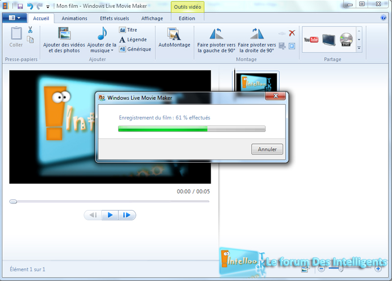 Movie Maker Enregistrer une vidéo WMV 510