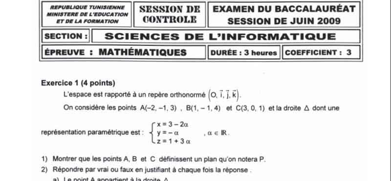 Devoirs Bac Math 4em Informatique 2009 Math_i10