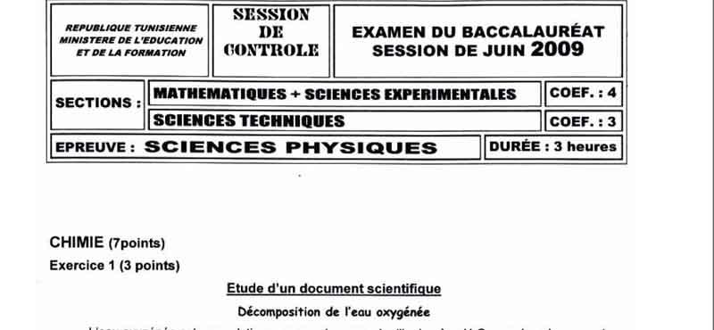 Devoirs Bac Physique 4em Math 2009 Phy_mt10