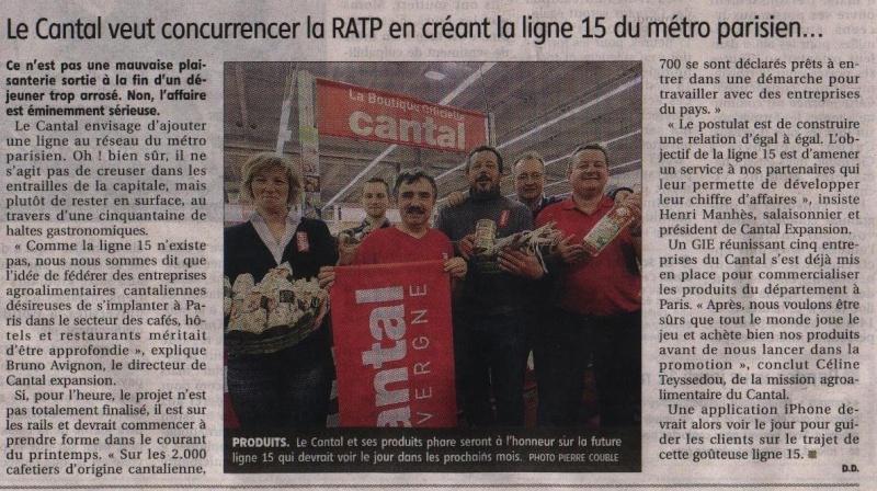 Le cantal veut ouvrir la ligne 15 à Paris Paris10