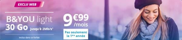 Le forfait B&YOU light 30Go revient, 9,90€/mois à vie 15166111