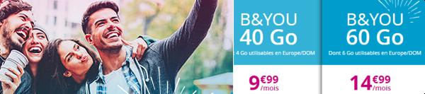 Les Forfaits sans engagement B&YOU de Noël: 40Go pour 9,90€ ou 60Go pour 14,99€ 15437311