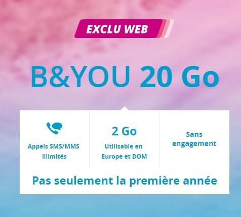 Prolongation de l'offre B&You 20Go à 4.99€/mois à vie chez Bouygues Telecom Byou4910