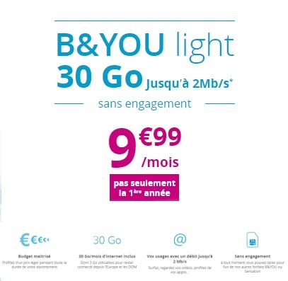 Le forfait B&YOU light 30Go revient, 9,90€/mois à vie Byouli10