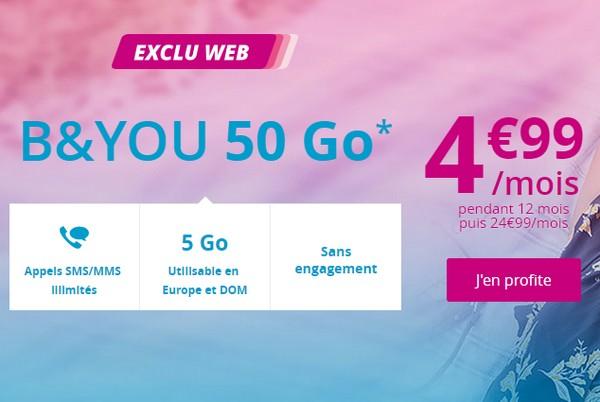 Bouygues Telecom lance la Série Spéciale B&You 50Go à 4,99€/mois Promob10