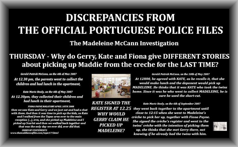 Do you believe something happened earlier than May 3rd ? If so, how did the McCanns manage to deceive everyone at the creche? Discre10