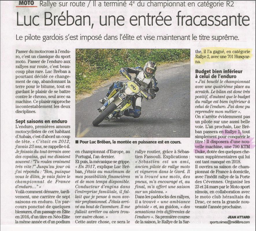 Luc Bréban: KTM 790 Duke en Rallye 1 Captur73