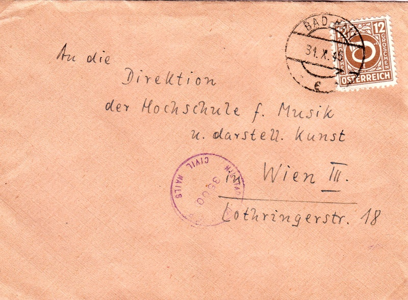 Posthornzeichnung  -  ANK 697-713  -  Belege 1945_110