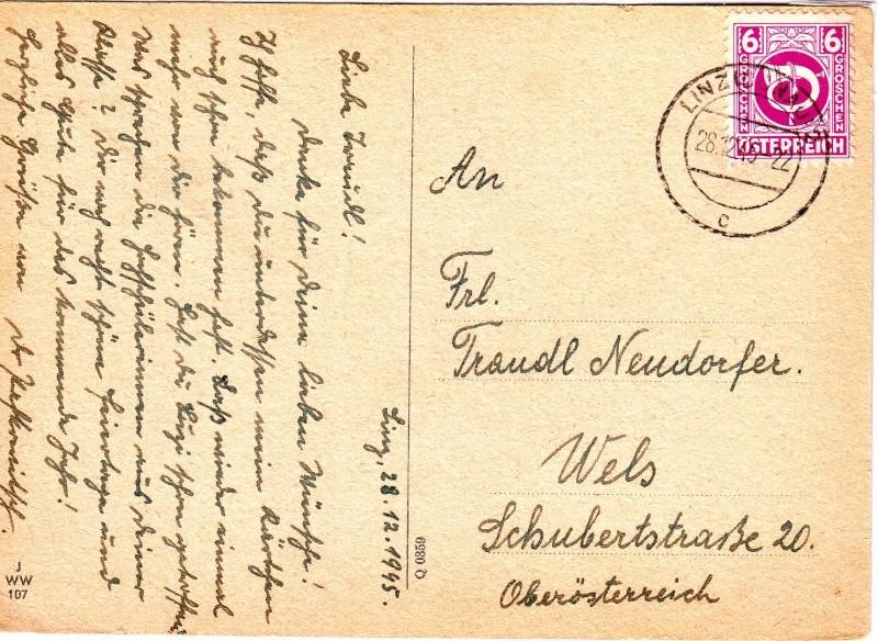 Posthornzeichnung  -  ANK 697-713  -  Belege 1945_p11