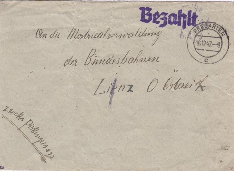 Österreich 2. Währungsreform 10.12.1947 - Belege Img63