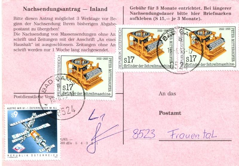 Drucksorten der Post - Nachsendungsantrag Nachse14