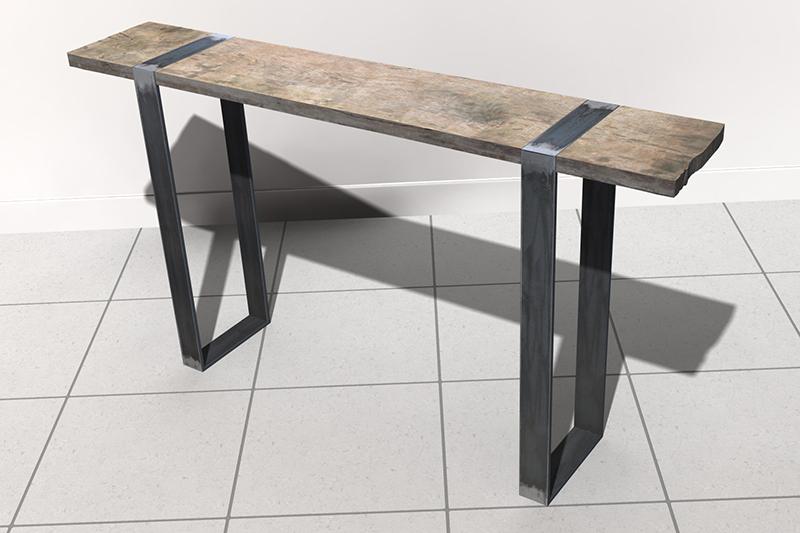 Une console bois et acier. Assemb40