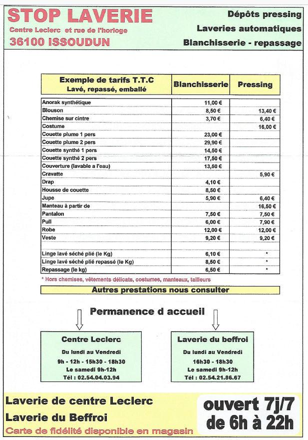 zo30. ISSOUDUN - STOP LAVERIE - Laverie automatique 7/7 jours, dépôt pressing 2018_s11
