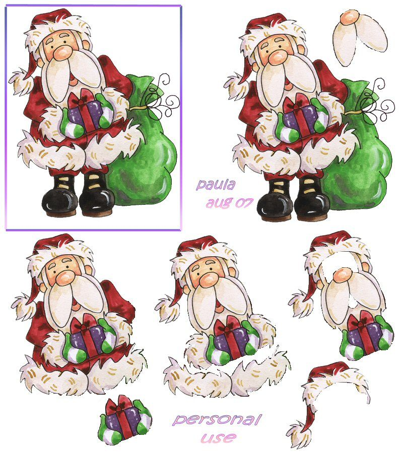 3 cartes de NOEL EN 3d à faire  Santa_10