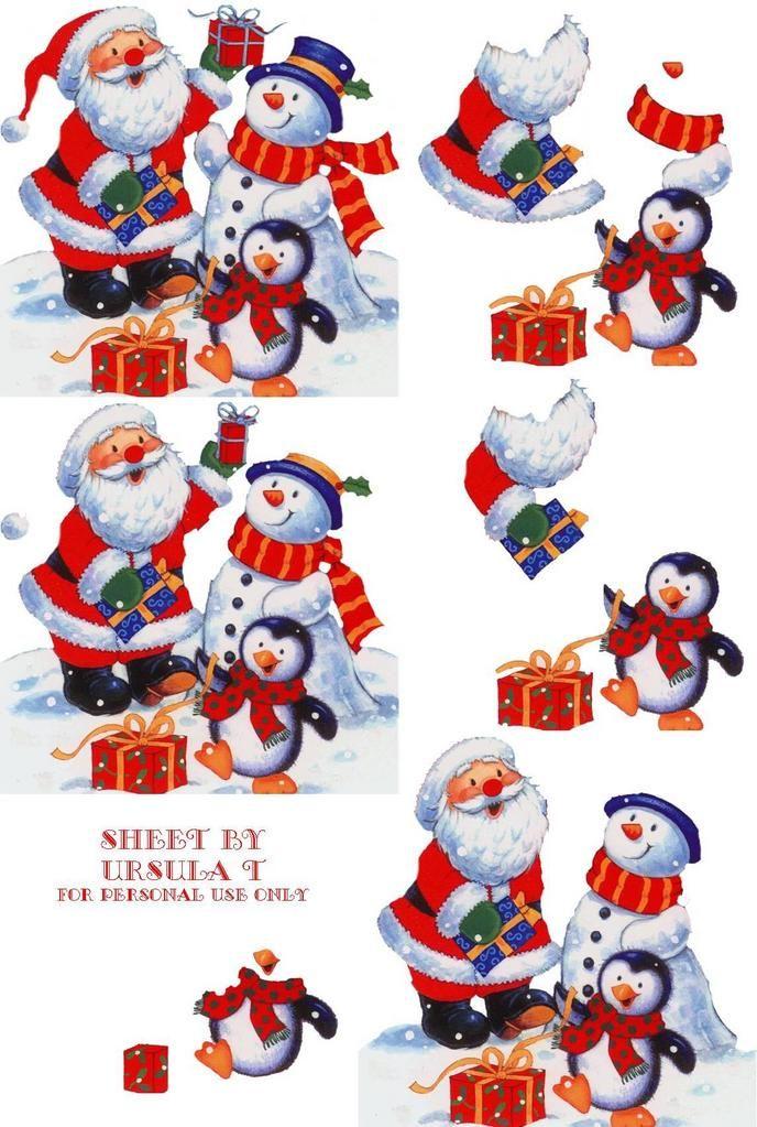 3 cartes de NOEL EN 3d à faire  Santas10