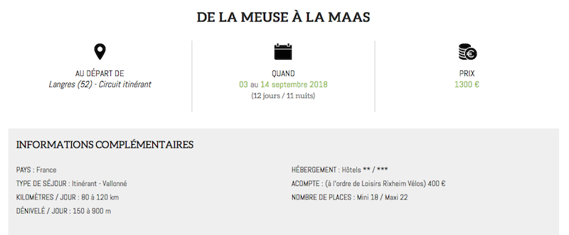 """Séjour 2018 """"La Meuse à Vélo"""" proposé par LRV Captur11"""