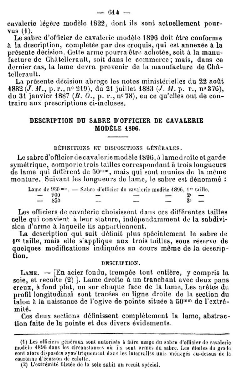 Taille des lames de sabres 1896. 1896-210