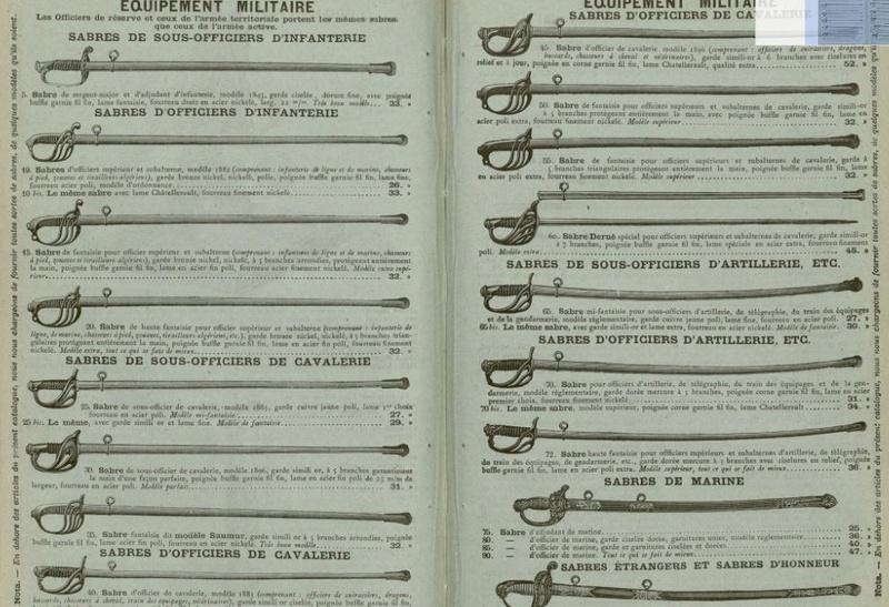 Sabres et épées proposés par la Manufacture d'Armes de Saint Etienne Mf_sab12