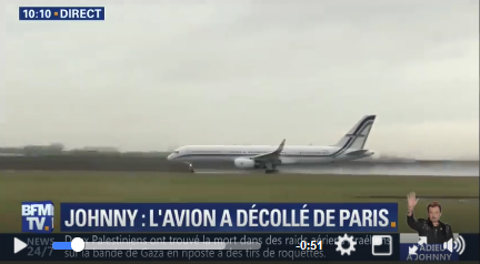 L'avion transportant le cercueil de Johnny quitte Paris  pour Saint-Barth Captur16