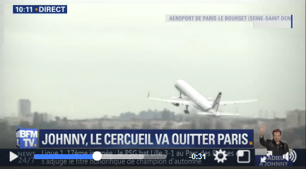L'avion transportant le cercueil de Johnny quitte Paris  pour Saint-Barth Captur17
