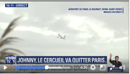L'avion transportant le cercueil de Johnny quitte Paris  pour Saint-Barth Captur18