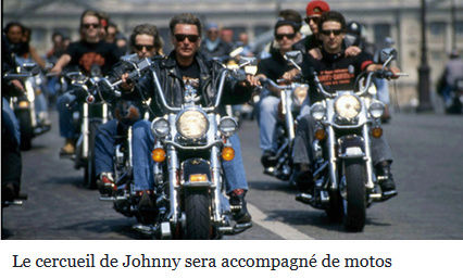 Le cortège de Johnny partira à 12h de la place de l'Etoile accompagné de motards. Captur19