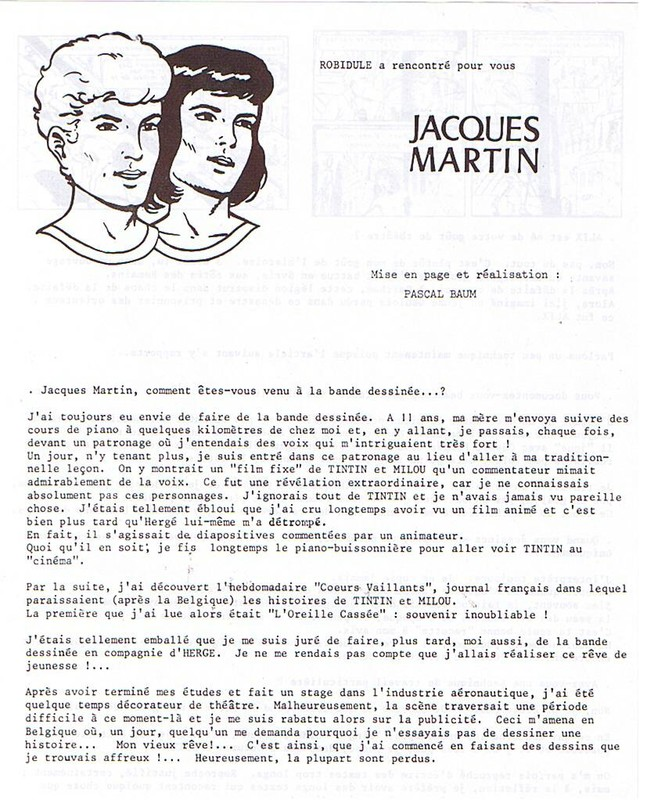 Interview, fanzines et articles divers sur Jacques Martin - Page 2 0212