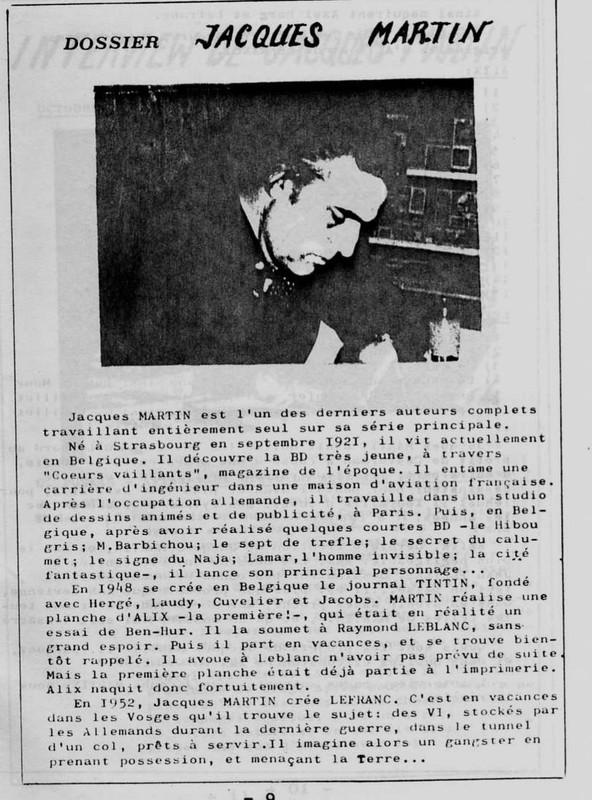 Interview, fanzines et articles divers sur Jacques Martin - Page 2 0314