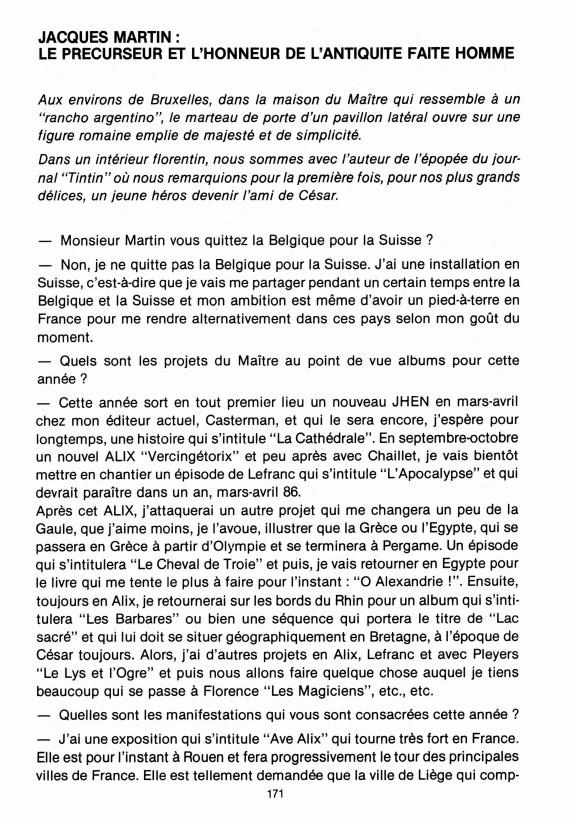 Interview, fanzines et articles divers sur Jacques Martin Bdsup110