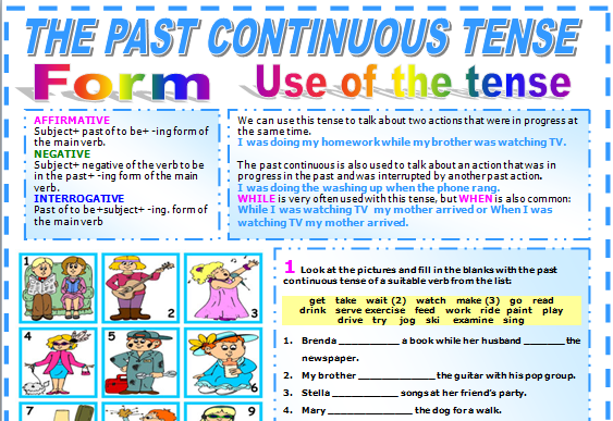 THE PAST CONTINUOUS TENSE Worksheet for teacher 210