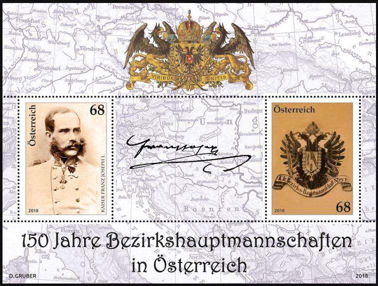 """Sondermarkenblock """"150 Jahre Bezirkshauptmannschaften"""" 2_bh_m10"""