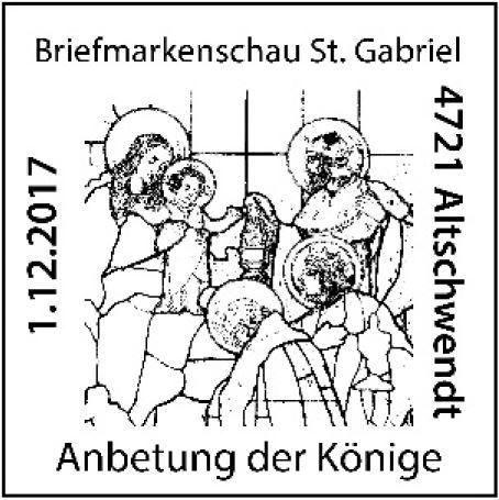 """Sondermarke """"Weihnachten 2017 - Anbetung der Könige, Pfarrkirche Altschwendt"""" 6_kyni11"""